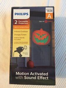 Halloween Philips Outdoor Focus Projector Jack O Lantern Orange/Green 2 NIB
