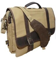 CANYON OUTBACK CANVAS LEATHER MESSENGER LAPTOP BAG PADDED SLEEVE must see