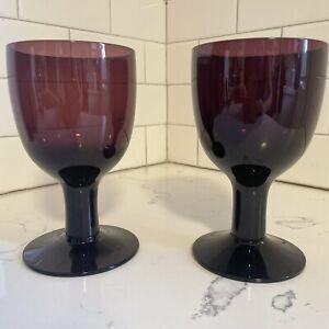 Yugoslavia Purple Glass Amethyst Goblets-Large Stem Wine Beverage Glasses Set 2