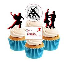 Novelty Salsa Dancing Collection 12 Edible Stand Up wafer paper cake toppers