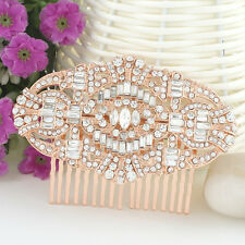 The Great Gatsby Clear Austrian Crystal Hair Comb Accessories Rose Gold GP Women