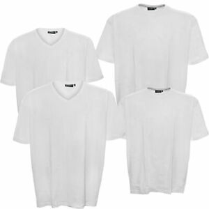 Kitaro T-Shirt Pack Blanc Coton Col Rond Encolure V Manches Courtes Taille Plus