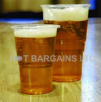 1000 X Clear Plastic  Half Pint Disposable Beer Glasses Cups Pint Tumblers Party