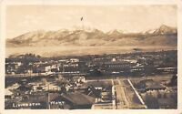 Livingston Montana~Birdseye Panorama~Mt Baldy~My Name in Bottle on Top~1919 RPPC
