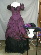 Civil War Dress Victorian Costume Edwardian Reenactment Gown w Shawl & Hat