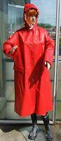 Retro Rot Pvc Frauen Regenmantel Gummimantel Gummi Mantel Regen Cape Regencape