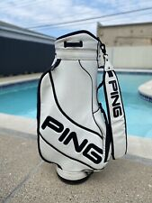 New listing EXCELLENT CONDITION PING PRO TOUR WHITE LEATHER FULL SIZE GOLF BAG!!!