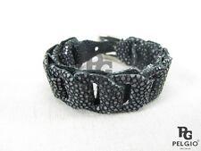 PELGIO Genuine Polished Stingray Skin Leather Braid Cuff Chain Bracelet Black