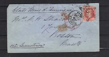 LETTRE NAPOLEON N°24  80 C ROSE PARIS BOSTON USA 1868 PAID TAX COVER 3