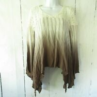 Gimmicks By BKE Top X Small XS Brown Ivory Crochet Ombre Boho Peasant