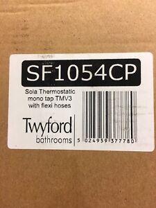 Twyfords Sola Thermostatic (TMV3) Mono Basin Mixer Tap, with Flexi Hoses