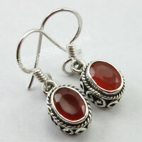 Earrings Pair LENGTH 2.6 Centimetres, 925 Sterling Silver CARNELIAN ART Jewelry