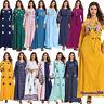 Women Ethnic Embroidery Long Dress Muslim Kaftan Dubai Abaya Islamic Robe Jilbab