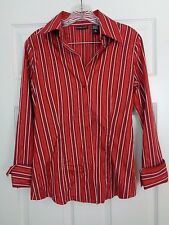 New York & Company Stretch Women's Button Down Striped Top Small