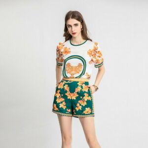 sale wholesale Holiday Lapel neck Short sleeves top Floral sexy Shorts suit