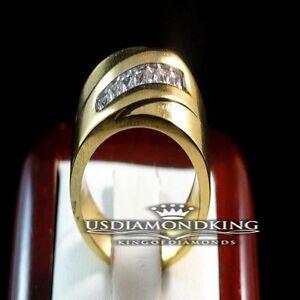 MEN LADIES 14K YELLOW GOLD FINISH PRINCESS CUT WEDDING BAND RING STAINLESS STEEL