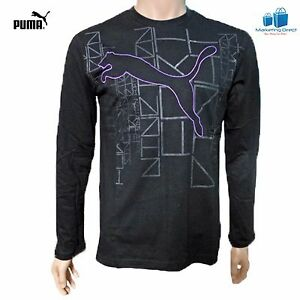 Puma Graphic Long Sleeve T-Shirt Top for Men Black Casual Running Top 814649-01