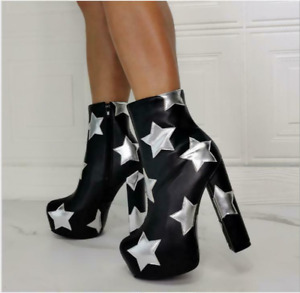Women High Platform Ankle Boots Block Heels Star Zipper Shoes Clubwear Plus Size