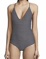Mikoh Swimwear  Womens Black Stripe Las Palmas One-Piece Swimsuit Size XS 75322
