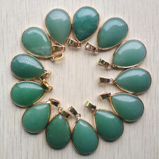 Wholesale 12pcs natural green aventurine stone gold side water drop pendants