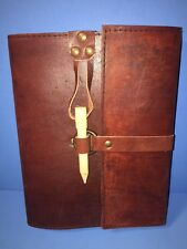 "NEW Handmade Leather Journal Diary Book Brass Ring Wooden Peg Closure 6"" x 8"""