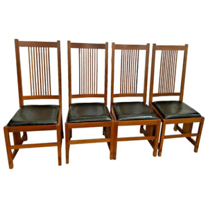 Stickley Mission Side Chairs Prairie Collection Solid Cherry Leather Seat