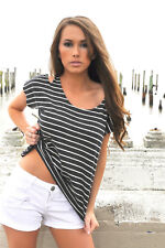 Trendy Charcoal Stripe Cold Shoulders Loose Blouse Tank Top new Tresics M Beach
