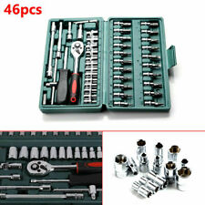 46pcs Car Ratchet Torque Wrench Kit Hand Tools 1/4-Inch Socket Set Tool With Box