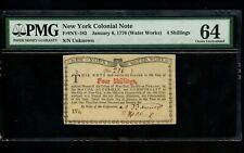 Us Colonial Currency New York Fr# Ny-183 January 6, 1776 4 Shillings Pmg 64 Unc