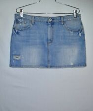 American Eagle Faded Blue Denim Mini Skirt with Frayed Design, sz 6