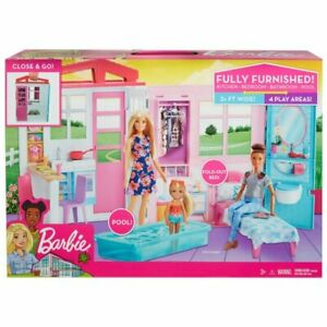 New Girls Barbie Fully Furnished Dolls House Plus 21 Accessories and Pool