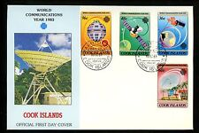 Postal History FDC #744-747 Cook Islands 1983 Space Satellite
