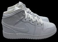 "Nike Air Jordan 1 Mid GS ""Tumbled Triple White"" 554725-130 7Y Women Size 8.5"