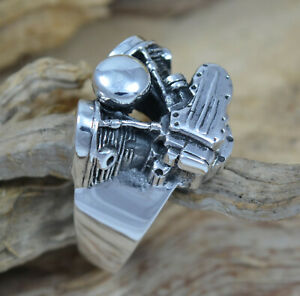 Silber 925 schwerer Harley Ring Biker-Ringe Motorrad Motor Motorblock Gr. 63 -76