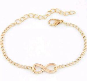 Infinity Bracelet Gold Ladies Girls Fashion Jewellery Vintage Gift Friends 94
