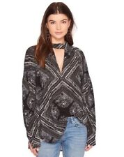 NWT $108 Free People Front V Cutout Print Tunic Blouse Long Sleeve Choker top S