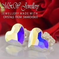 925 STERLING SILVER STUD EARRINGS HEART CRYSTAL AB 10mm CRYSTALS FROM SWAROVSKI®