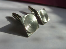 tone engine turned men's cufflinks Vintage 1960s 70s square silver