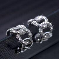 18k white gold stud made with Swarovski crystal fashion huggie dangle earrings