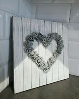 Wooden Hanging Rustic Shabby Chic Foam Rose Heart Plaque Grey Home Decor