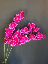3 Real Touch Hot Pink Artificial Orchid Flowers Stem Realistic Faux Silk Purple