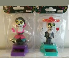 Solar Power Dancing Toys Day of the Dead Mexican Groom Bride Sugar Skulls NWT