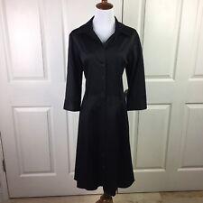 Ann Taylor Shirt Dress Sz 12 Black Button Front Career Office Structured Cotton