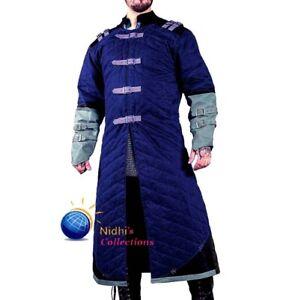 Medieval Gambeson Coat Thick Padded Full Length Sleeves Aketon Jacket