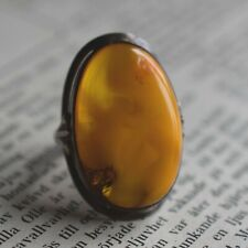 Vintage natural amber ring butterscotch danish design sterling silver 6g Sizable