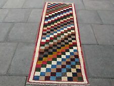 Old Traditional Hand Made Persian Gabbeh Oriental Wool Colourful Runner 220x80cm