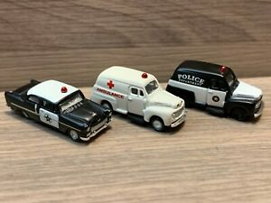 N Scale Mini Metals Vintage Style Police Cars & Ambulance '48 Ford