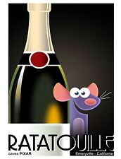 TIN SIGN Disney Movie Ratatouille Champagne Remy Cartoon Attraction Art Poster