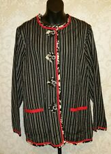 KOOS of Course Black/Red/White Reversible Stripped Floral Jacket Sz M #2674