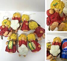 VTG set of 7 Papier-Mâché Angels Christmas Ornaments FAST FREE SHIPPING